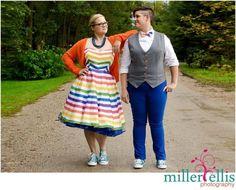AshleeNAlyssa #rainbow #Stripe #wedding #dress and #bowtie custom made by www.missbrache.com