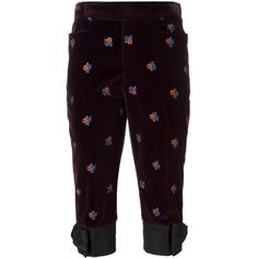 Maison Margiela velvet embroidered trousers (656040 IQD) ❤ liked on Polyvore featuring pants, capris, red, zip pants, cropped pants, embroidered pants, red pants and purple velvet pants