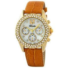"""Breda Women's 5113_GOLD """"Victoria"""" Mother-Of-Pearl Dial Leather Watch Breda. $31.50. Gold case with a crystal accented bezel. Adjustable gold genuine leather strap with metal buckle. Mother-of-Pearl dial marked with 3 non-working subdials and 8 crystal dial markers. Highest Standard Japanese Quartz Movement. Water-resistant - not recommended to take into deep water or shower. Save 30%!"""