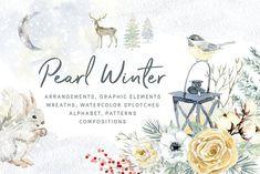 Pearl Winter. Watercolor  by OJardin on @creativemarket
