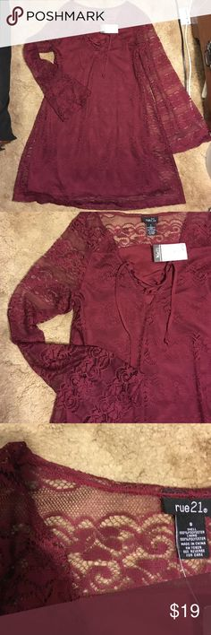 Boho bell sleeve lace dress Size small, never worn. New with tags Rue 21 Dresses Long Sleeve