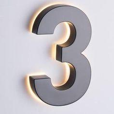 Backlit Signage, Door Signage, Metal Signage, Metal House Numbers, House Numbers Modern, House Number Signs, Door Numbers, House Letters, Led Logo
