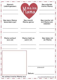 Fragebogen Meine Oma - Geschenk zum Muttertag Every year we fill out this questionnaire for Grandma Fall Crafts For Toddlers, Toddler Crafts, Preschool Crafts, Kindergarten Portfolio, Gratis Download, Questionnaire, Mother's Day Diy, Mothers Day Crafts, Mom Blogs