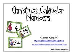 Christmas themed calendar numbers....
