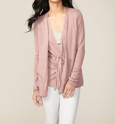 Inhabit $380 Mauve Pink Layered Pocket Linen Spring Summer Cardigan S M #INHABIT #Cardigan