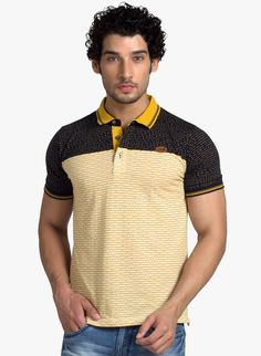 Buy Klub Fox Yellow Printed Polo T-Shirt for Men Online India, Best Prices, Reviews   KL006MA85NTMINDFAS