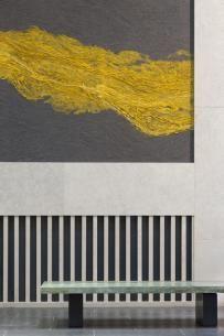Claudy Jongstra, textile artist.   Installation at Lincoln Center (detail).   Materials: Drenthe heath, raw silk, merino wool