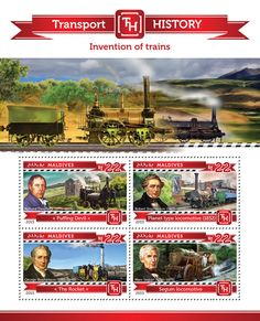 Post stamp Maldives MLD 15203 a Invention of Trains (Richard Trevithick Puffing Devil, {…}, Marc Seguin Seguin locomotive) Locomotive, Maldives, Postage Stamps, Inventions, Transportation, The Past, History, World, Devil