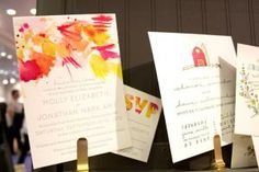 Artsy, watercolor-painted designs, like the letter-pressed Watercolor invitation suite by Printerette Press are popular! Wedding Invitation Envelopes, Simple Wedding Invitations, Unique Wedding Invitations, Watercolor Wedding Invitations, Invitation Suite, Invitation Design, Party Invitations, Invitation Ideas, Event Decor