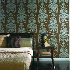 York Wallcovreings - INTAGLIO DAMASK  Love for a BR accent wall.