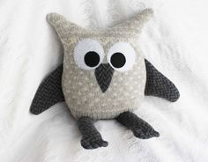 handmade owl from upcycled sweaters gray white by miraclemittens, $32.