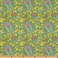 Amy Butler Soul Blossoms Joy Dancing Paisley Lemon - Discount Designer Fabric - Fabric.com