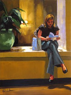 A young woman reading a city guide in a hotel lobby in Chicago, by Karen Jurick. Reading Art, Woman Reading, Book Images, Art Images, Ecole Art, Book People, American Artists, Figurative Art, Book Art