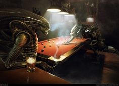 artist Benjamin Parry created some amazing illustrations of Alien vs. Predator playing a leisurely game of chess and pool for a Sky Digital New Zealand Alien Vs Predator, Predator Movie, Aliens, Cyberpunk, Art Alien, Pool Movie, Manga Anime, Sky Digital, Play Pool