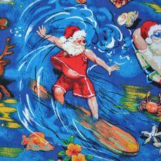 Santa Claus Hawaiian Shirt Mens Size Large L Blue Background Dolphin Hula Surf #MaxBoxxer #Hawaiian