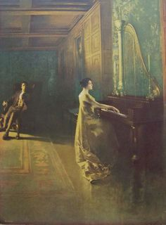 Victorian Woman Playing Piano Original Lithograph by cynthiasattic, $135.00