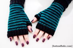 [ knitandbake.com ] my new pattern for striped fingerless gloves <3    http://www.knitandbake.com/2012/03/15/striped-fingerless-gloves-knitandbake-com-free-knitting-pattern/