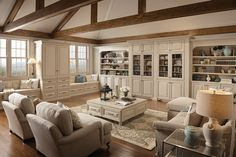 Love these built ins and ceiling....where is the fireplace?