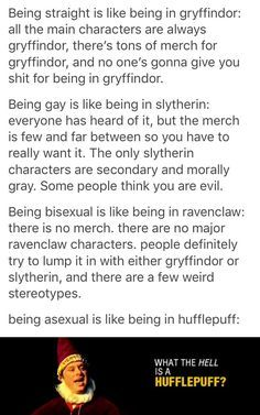 No main characters from Ravenclaw? Luna Lovegood was a Ravenclaw. Lol Memes, Funny Gay Memes, Harry Potter Fandom, Harry Potter Memes, Potter Facts, Harry Potter Insults, Fandoms, Games Memes, Ace Pride