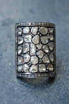 RONA PFEIFFER Square diamond ring Rose cut diamonds approx 2.74c set in sterling silver .925 and 14k gold back.