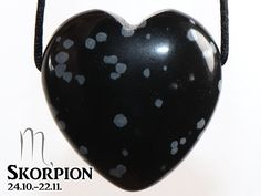 SCORPIO: Snowflake obsidian (heart) on leather strap / cotton cord (necklace) Christmas Bulbs, Stone, Holiday Decor, Etsy, Stone Necklace, Leather Cord, Gemstones, Black Leather, Heart