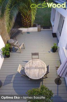 Océwood® - Terrasse en lames composites nouvelle génération Optima Eko Basalte - www. Lame Composite, Deck, Outdoor Decor, Home Decor, Gardens, Decks, Courtyards, Plants, Outdoor Seating