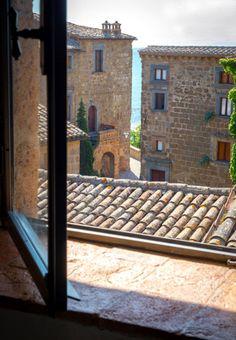 the view from Domus Civita in the medieval city Civita di Bagnoregio, Italy