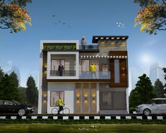 Duplex House Design, House Front Design, Home Room Design, Small House Design, Modern House Design, Building Elevation, House Elevation, Front Elevation, House Rooms