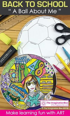 Back to School Fun Art 'All About Me' Soccer Ball Doodle Activity Are you looking for an easy to set up, fun back to school art activity for kids? Kids love learning about each other through all about me activities - This 'Ball About Me' art activity is g Back To School Art Activity, First Day Of School Activities, Middle School Art, School Fun, Art School, School Ideas, School Today, School Humor, Get To Know You Activities