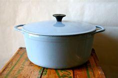 Vintage Cousances Dutch Oven Pan LeCreuset Le Creuset France 1950s Blue SALE was 100. $75.00, via Etsy.