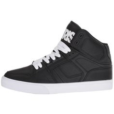Osiris NYC83 VLC (Black/White/White) Men's Skate Shoes ($60) ❤ liked on Polyvore featuring men's fashion, men's shoes, men's sneakers, mens white sneakers, mens white shoes, black and white mens shoes, mens black and white sneakers and osiris mens shoes