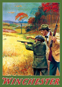 Winchester Promotional Calendar Artwork.Artist: Geo. Brehm (Circa 1918)