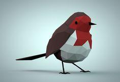 Robin Christmas geometric low poly