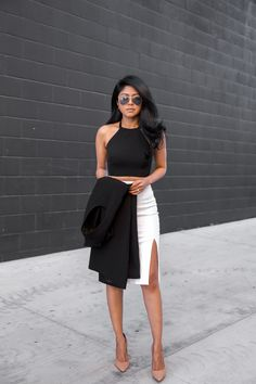 Instead of dress for cocktail hour, try contemporary separates like a crop top and a  high-waisted skirt.