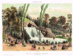 """Chromo from """"Paris et ses Environs"""" - GRANDE CASCADE DE LONGCHAMPS -1858"""
