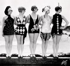"""Vintage Swimsuits including a spiderweb suit ~ Mack Sennett bathing beauties as """"sirens of the sea."""" c. 1920s. Adorable! Women's vintage fashion photography photo image summer swimwear"""