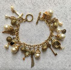 Handmade Vintage Charm Bracelet Paper Bead Jewelry, Old Jewelry, Charm Jewelry, Beaded Jewelry, Vintage Jewelry, Beaded Bracelets, Unique Jewelry, Charm Bracelets, Jewellery