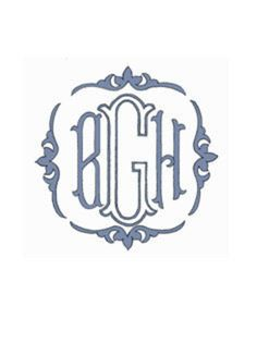 A lovely formal monogram with elegant border.  Buckley by Grace Hayes from Grace Hayes Linens