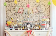 Spring Dessert Table by Fanciful Events (featuring Craft That Party Ruffe Garlands & pegs)