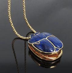 Vintage Natural Lapis Lazuli & 14K Gold Massive Egyptian Revival Scarab Necklace