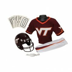College Football Deluxe Uniform Set - Virginia Tech - Pass along the college football tradition to your young fan with this official College Football Deluxe Uniform Set. Included is an official team jersey, team helmet with authentic logo and team colors, and team pants that will have them looking ready to take the field. The set also includes iron-on numbers (0-9) for the back of the jersey. - See more at: http://franklinsports.com/shop/college-deluxe-uniform-set