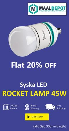Syska LED ROCKET LAMP 45W : Lower power consumption and energy saving. Shop at http://bit.ly/2djfVIk for affordable prices. To place orders,call or whatsapp to 9019156789