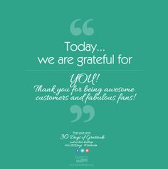 Today, we are grateful for YOU! We've really enjoyed reading all of your gratitude posts this month! Thank you! #Gratitude #LH30Days