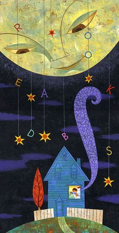 The all seeing moon illustration Art And Illustration, Nocturne, Sun Moon Stars, House Quilts, Moon Art, Whimsical Art, Oeuvre D'art, Illustrators, Artsy