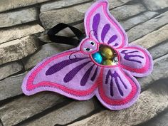 Butterfly treat bag machine embroidery design butterfly