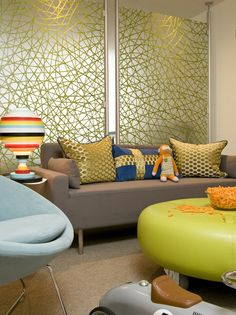 #translucent #room dividers with #graphics can be a fun way to add character to a room. Designed by Grace Home Design, Inc.  Dividers were custom made from 3Form. They are Varia Partition #Walls.
