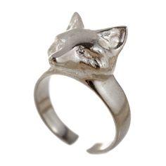 sterling silver fox head ring