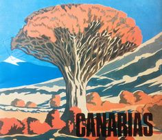 Old school #CanaryIslands #tourism brochure cover showing a dragon tree and Teide volcano in Tenerife