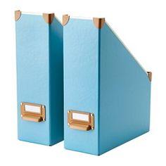 IKEA - FJÄLLA, Range-revues, bleu, , Facile à tirer et à soulever grâce à l'orifice qui assure une bonne prise.Le porte-étiquette vous permet d'organiser et de retrouver plus facilement vos objets.