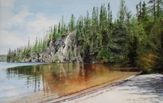 "Saatchi Art Artist: Doug Hunt; Watercolor 2011 Painting ""Sox Lake"""